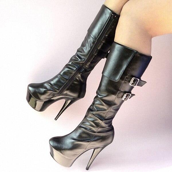 15cm Ultra High Heels Boots Medium-Leg Double Hasp Women s Platform Boots  Shoes 6 Inch Sexy Knee High Boots Motorcycle Boots 4b5bb9599d