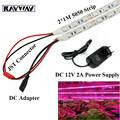 2*1M Flexible 5050 SMD plants grow light Strip Aquarium Greenhouse Hydroponic Growing Lamp + 12V 2A adapter + DC Connecter + JST