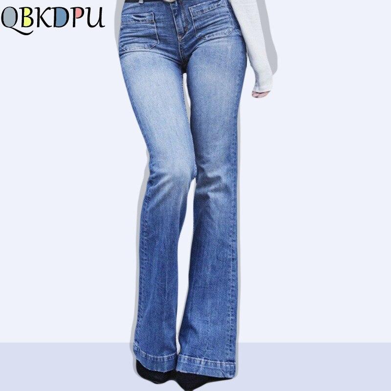 Women Jeans Plus Size Female Stretch Slim Denim Flares Pants Mom's Summer Breathable Fashion Bell Bottom Trousers Dzinsy Damskie