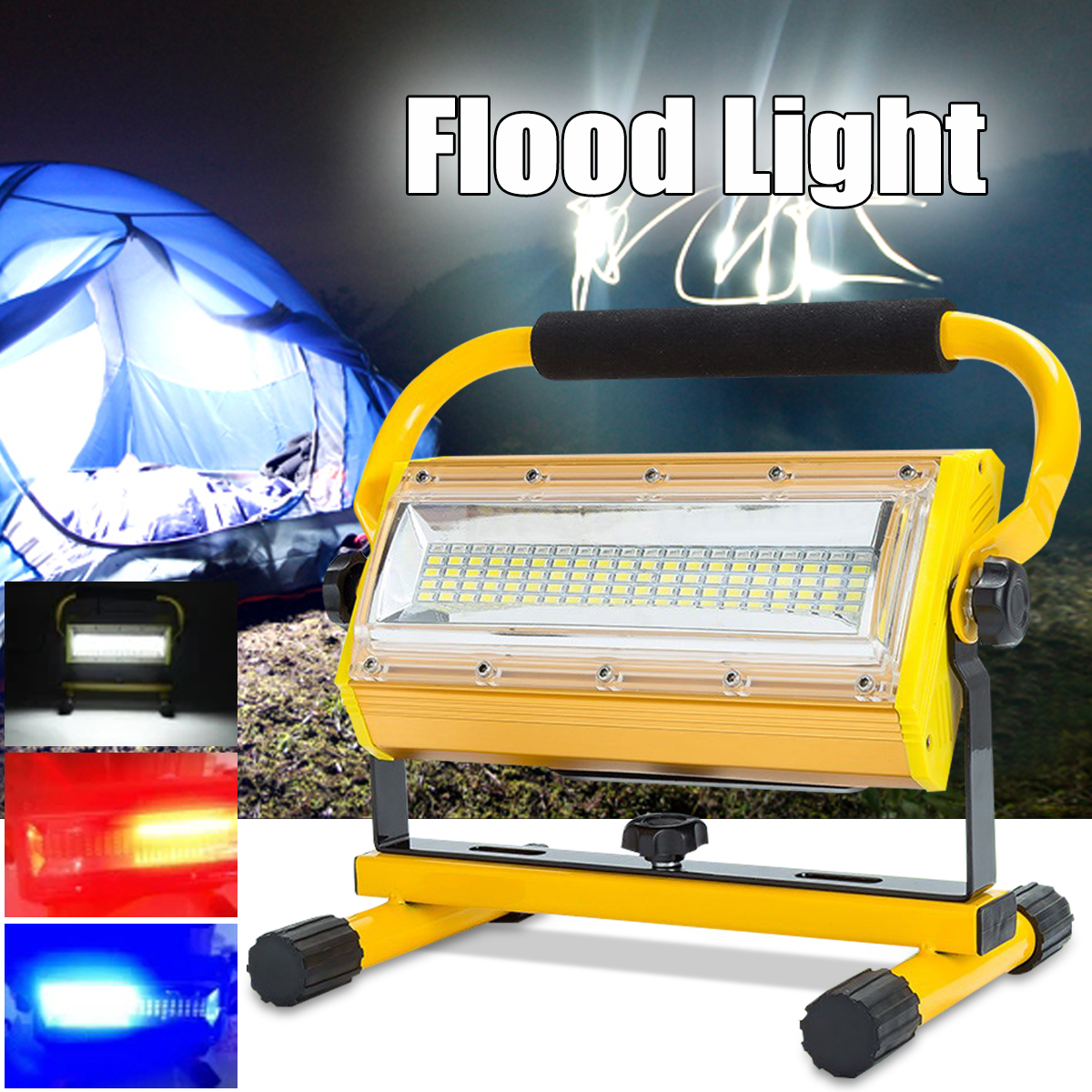 100W 60 LED Portable Rechargeable Flood Light Spot Flashlight Work Light Camping Outdoor Lamp cob led flood light dimmable 100w portable led floodlight cordless work light rechargeable spot outdoor working camping lamp