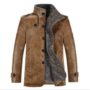 Image 1 - 2019 Plus Size 7xl 8xl Winter New Mens  Velvet Leather Jacket Stand Collar PU Leather Coat Male Loose Brand Clothing