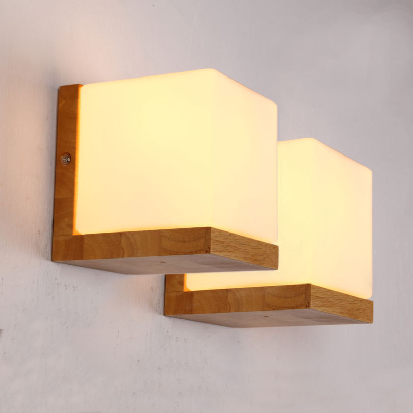 Wooden Cube Wall Lights : Aliexpress.com : Buy Modern Oak Wood Wall Lamp Glass Cube Sugar LED For Home Lighting Bathroom ...