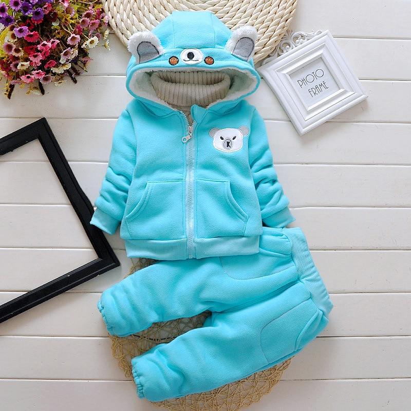 boys clothing sets winter cotton thicken  children kids cartoon plue velvet 2pcs