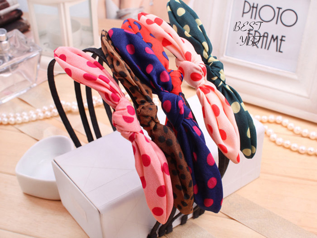 Lovely Girls Lady Dots Bow   Headwear   Hair Bands Hoop Rabbit Ear Wrapped Headband Party Hair Accessories