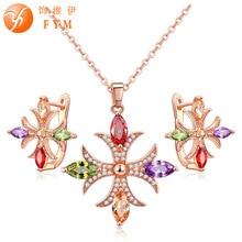 Фотография FYM Brand Popular Rose Gold color Bridal Jewelry Set for Women Multicolor AAA Cubic Zircon Pendant Necklace & Earrings FYMJS0118