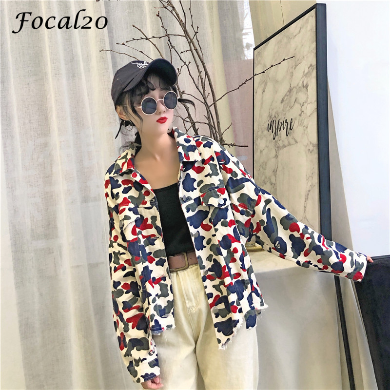 Focal20 Streetwear Camouflage Tassels Ripped Women Jacket Jeans Pockets Turn Down Collar Button Denim Jacket Coat Outwear 9