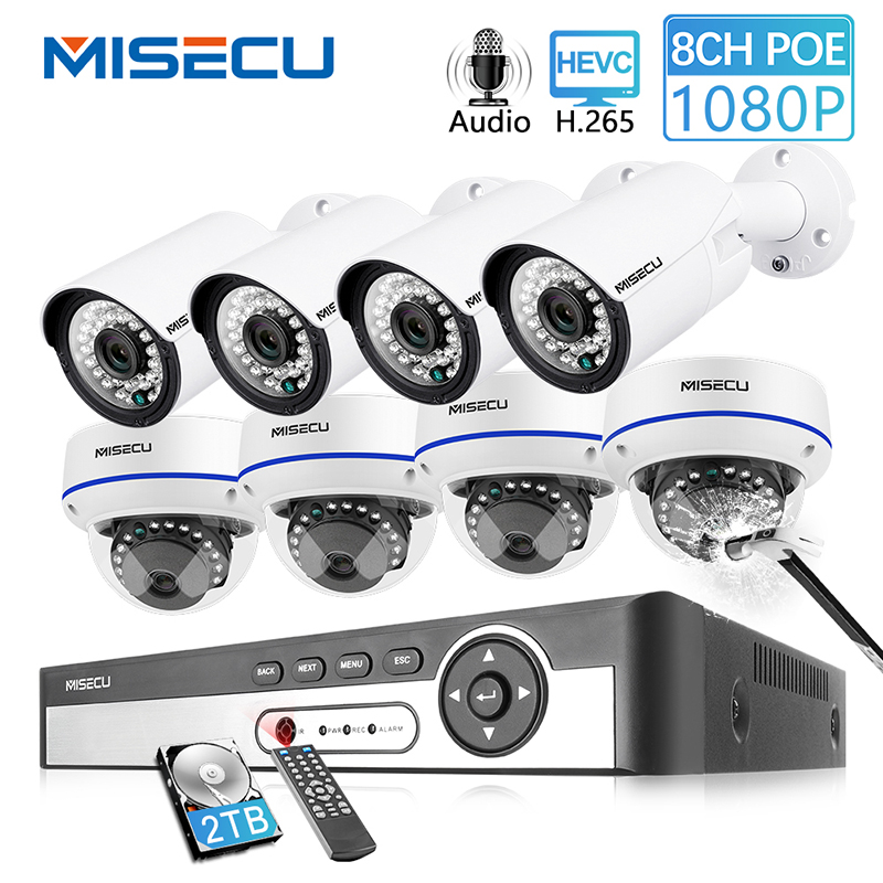 MISECU 8CH 1080P POE NVR Kit Security CCTV System Outdoor Indoor Audio Record IP Camera Waterproof P2P Video Surveillance Set image