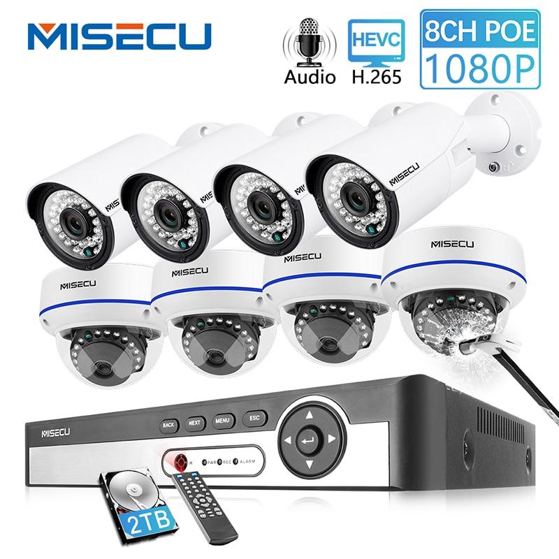 MISECU 8CH 1080P POE NVR Kit Security CCTV System Outdoor Indoor Audio Record IP Camera Waterproof P2P Video Surveillance Set