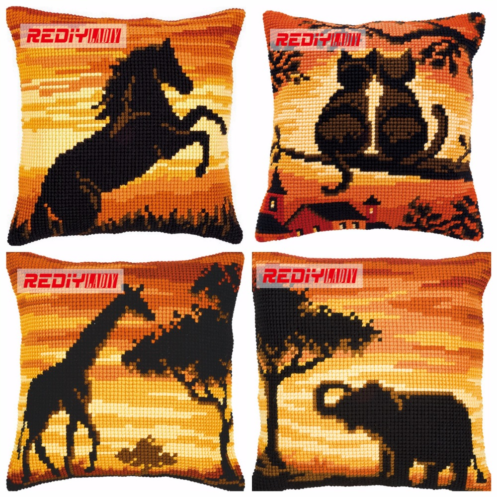 LADIY Cross Stitch Pillow Cover ANIMALS Cushions for Sofas SUNSET Decorative Pillow Case DMC Counted Cross-Stitch