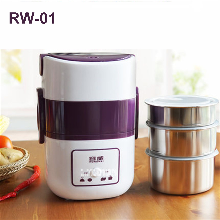 RW-01 220V/250W Electric Food Steamer Multifunctional Household Three Layers 304 Stainless Steel Split Hot Pot Mini Steamer 1.9L electric lunch box double layer stainless steel liner cooking lunch boxes multifunction plug in lunch box steamed rice steamer