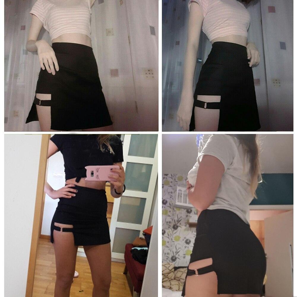 Korean Sexy Women Irregular Cotton High Waist Bandage Skirt Mini Bodycon Short Skirt Black Solid Slim Clubwear Harajuku New Hot