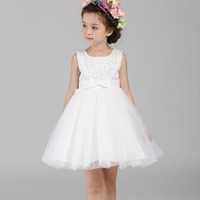 2019 White Chiffon Flower Girl Dress Sequin Pageant Kids Gowns for Girls Birthday Dresses Party Children Princess Costumes