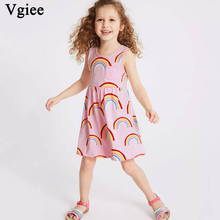 Vgiee Kids Dress for Baby Girls Dresses 2019 Summer Bitrhday Party Print Flowers Little Clothing Girl Clothes
