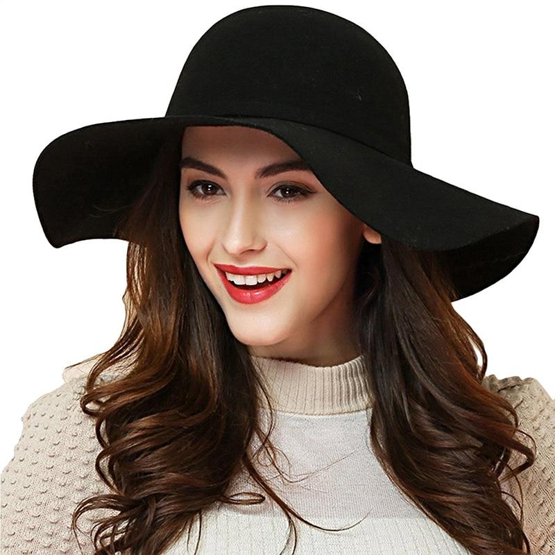 570b5ff9092 Detail Feedback Questions about Autumn Winter Parenting Hat Women Vintage  Wide Brim Hat Imitation Wool Warm Felt Bowknot Bowler Floppy Cap Children  Fedora ...
