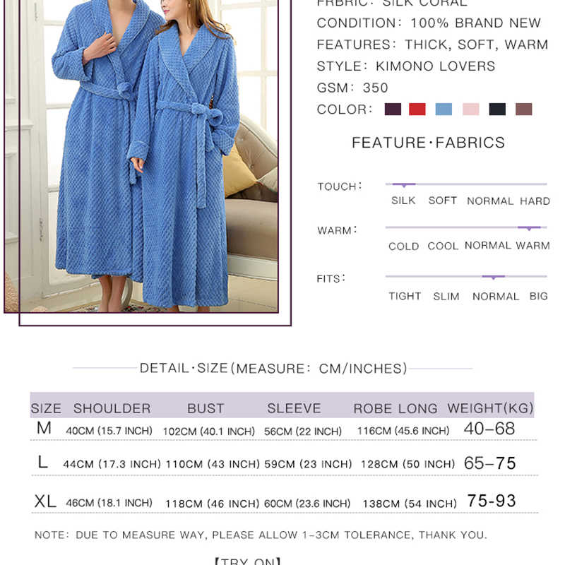 ... Mens Extra Long Thick Warm Winter Bathrobe Silk Soft Waffle Flannel  Bath Robe Men Kimono Robes ... e388725d4
