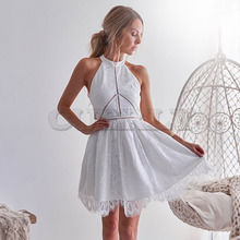 CUERLY Women Dress 2019 Hollow Out Summer Dresses Sleeveless Casual White Lace Dress Sexy Halter Boho Beach Dress Vestidos L8