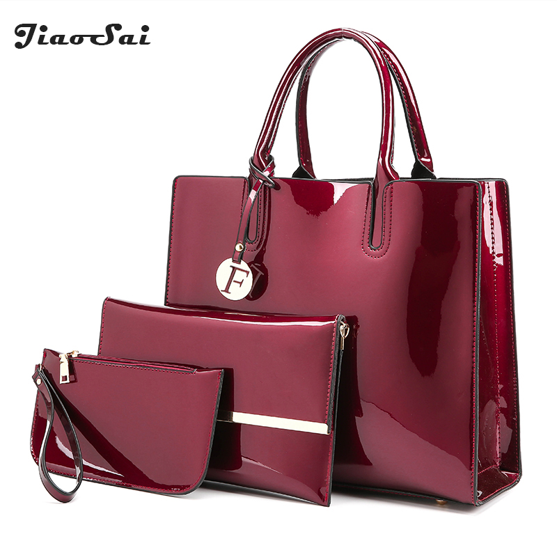 Luxury Patent Leather Handbags 3PCS Lacquered Shoulder Crossbody Bag For Women Casual Tote Clutch Feminina New Womne Bag Set