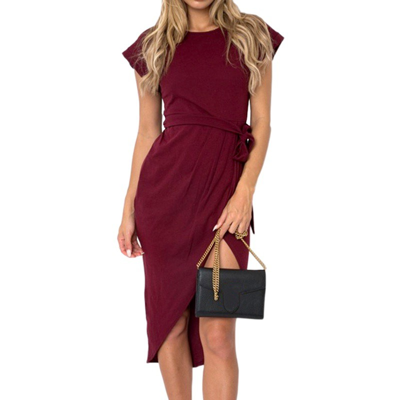 Casual Pullover Loose Split Empire Waist Dress Ladies Solid Short Sleeve Swearter Dress O-Neck Daily Dress With Sashes W6