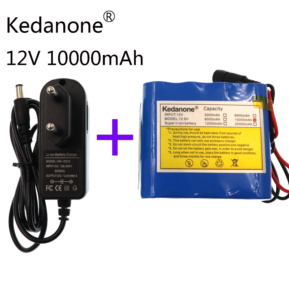Kedanone 100% New Protection Large capacity 12 V <font><b>10Ah</b></font> 18650 <font><b>lithium</b></font> Rechargeable <font><b>battery</b></font> pack <font><b>12v</b></font> 10000 mAh capacity image