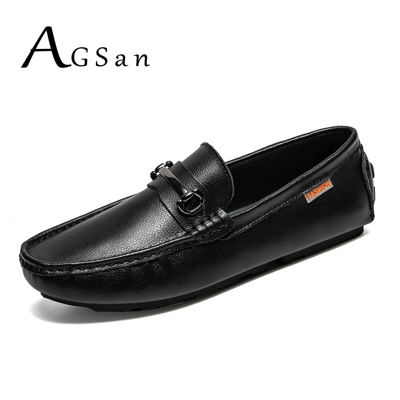 AGSan Genuine Leather Men Loafers Designer Italian Shoes Slip On Driving Shoes Big Size 38-46 Moccasins Loafers Black Brown dekabr new 2017 men cow suede loafers spring autumn genuine leather driving moccasins slip on men casual shoes big size 38 46