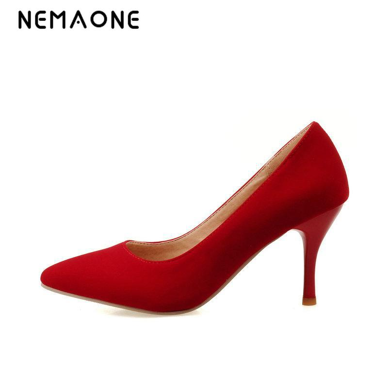 NEMAONE 2017 Women Pumps Western Style Concise Pointed Toe Party Thin High Heel Pumps Women's Wedding Shoes Big Size 34-43 doratasia denim eourpean style big size 33 43 pointed toe women shoes sexy thin high heel brand design lady pumps party wedding