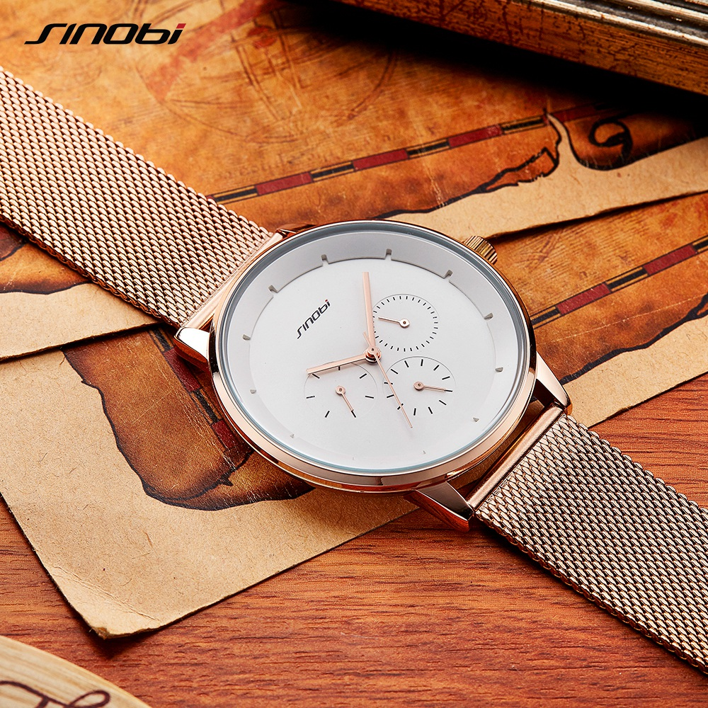 SINOBI Mens Watches Top Brand Luxury Gold Quartz Watch Men Mesh Strap Waterproof Casual Sport Clock Male Relogio Masculino sinobi mens military watches luxury quartz watch men clock silicone strap sport watches male wristwatch waterproof reloj hombre