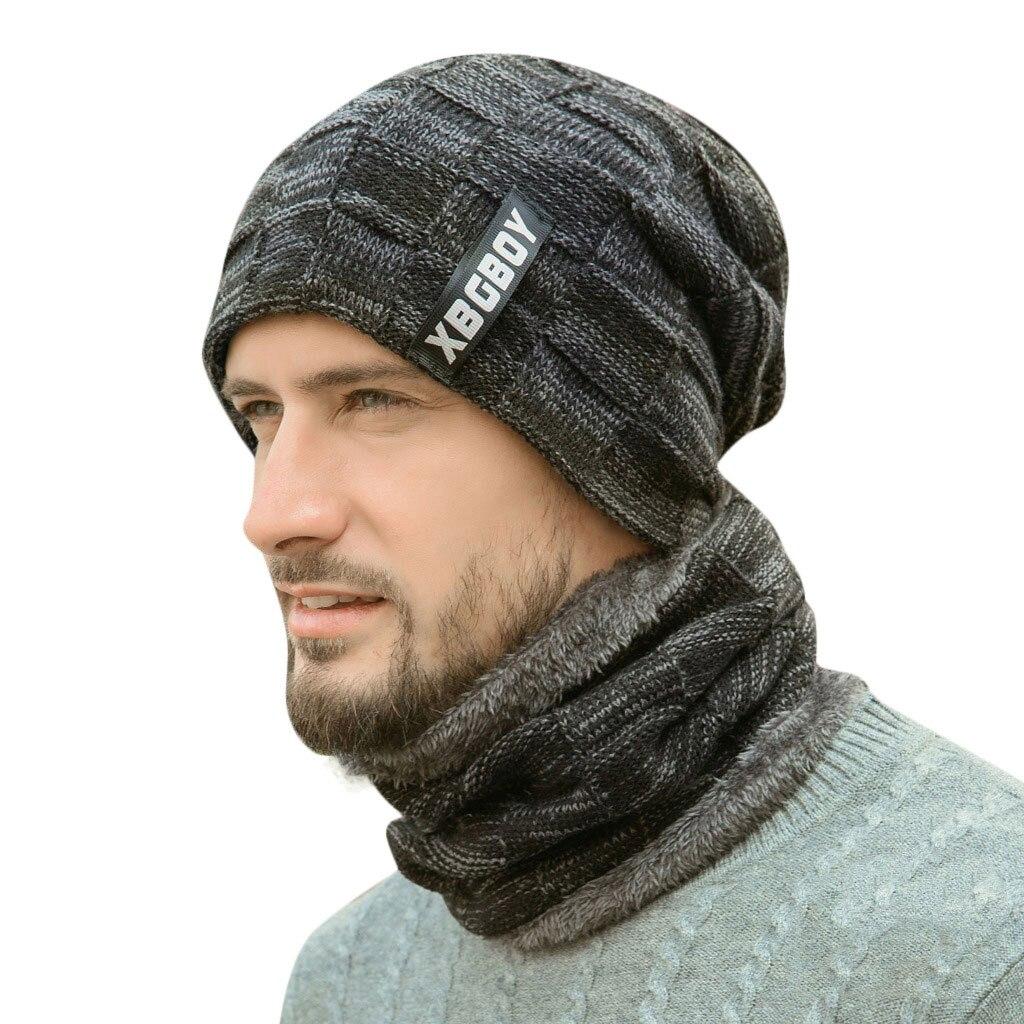 Теплая вязаная шапка, шарф, набор, меховая шерстяная подкладка, толстые теплые вязаные шапочки, Балаклава, зимняя шапка для мужчин и женщин, шапка Skullies Bonnet - Color: Black