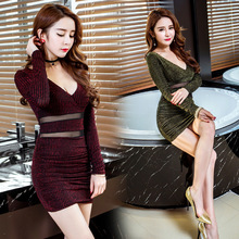 Women's Dress Night Shop Low Chest Deep V-neck A-line Sexy Dress 2019New Style v shop