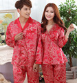Nova Marca Casal Conjuntos de Pijama Amantes Sleepwear Cetim de Seda de Impressão Vermelho Amantes De Seda Pijamas Set Vestuário de Moda Casa Roupa de Dormir