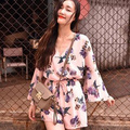 2017 estilo verão rompers womens jumpsuit moda floral imprimir v neck manga flare calções chiffon macacão macacão feminino s26