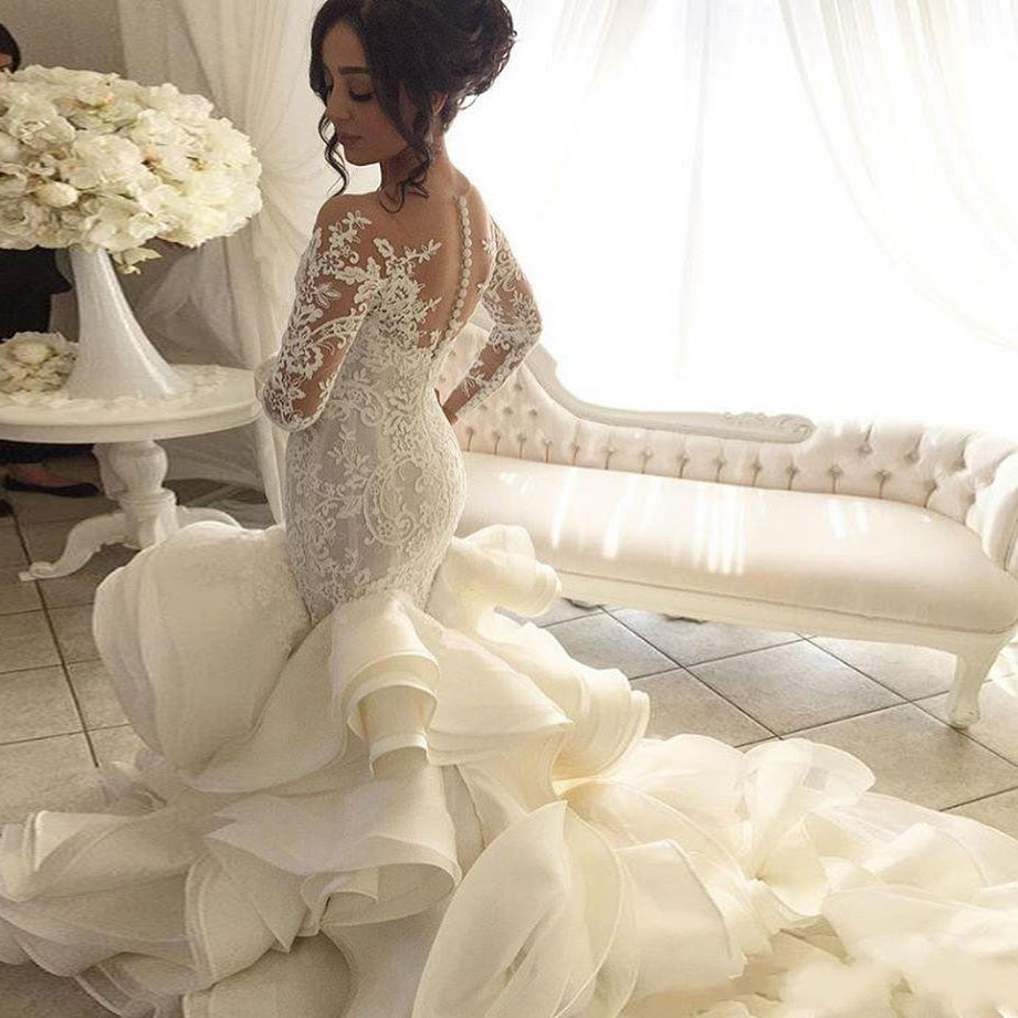 Fashionble Long Sleeve Mermaid Wedding Dresses Appliques Organza Luxury Bridal Dress Sweep Train Sheer Jewel Neck