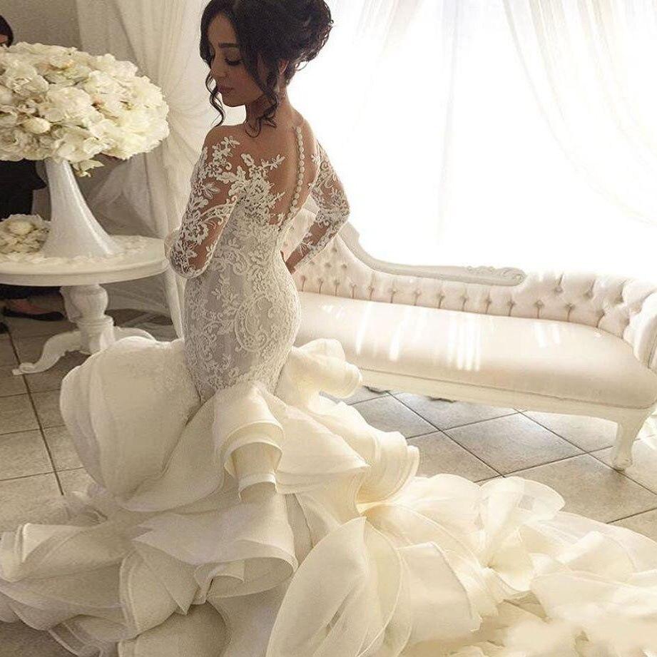 Fashionble Long Sleeve Mermaid Wedding Dresses Appliques Organza Luxury Bridal Dress Sweep Train Sheer Jewel Neck Vestido