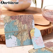 OurWarm Wedding Souvenirs Gifts for Guests Map Cork Coasters Travel Theme Square Table Decoration