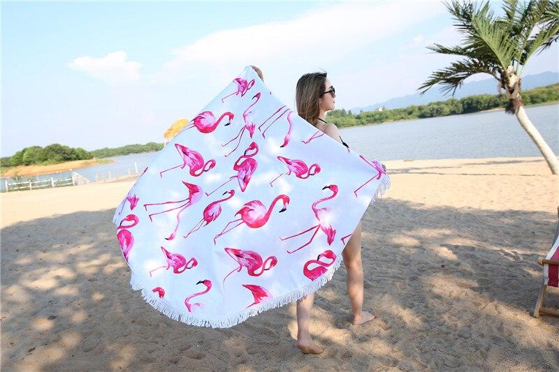 HTB1RmoISpXXXXXNXVXXq6xXFXXX0 - Round Style Microfiber Beach Towel - Flamingo With Tassels Design
