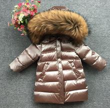Abrigo largo de plumas con capucha para niños, abrigo largo de plumas cálido clásico, con cuello de piel Natural grande, color dorado champán