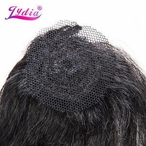 """Image 4 - Lydia kadınlar için Kinky düz 5 adet/paket sentetik saç uzatma 14 """"16"""" 18 """"saç dokuma Kanekalon saf renk saç demetleri"""