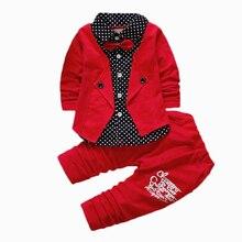 2016 Printemps Automne Deux Faux Vêtements Ensembles Bébé Garçons Bouton Lettre arc Costume Ensembles Enfants Veste + Pantalon 2 pcs Vêtements Ensemble bébé