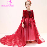 Wine Red Flower Girl Dresses For Wedding Princess Girls Prom Gowns Short Front Long Back Remove Kids Pageant Dress For Birthday