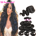 7A Peruvian Virgin Hair Body Wave With Closure 4 Pcs Lot Peruvian Lace Closure Body Wave Queen Hair Products With Closure Bundle