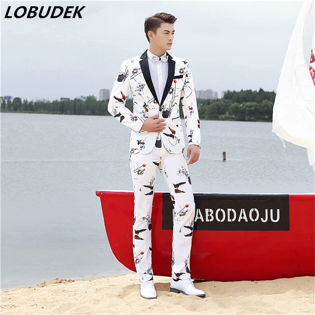 jacket+pants) Men Wedding Suits Fashion printing white jacket coat ...