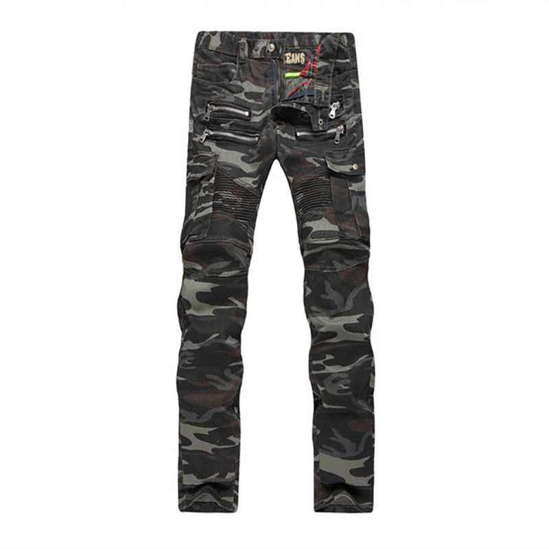 Famous Designer Men's Fashion Brand Denim Trousers Army Green Camouflage Jeans Homme Luxury Slim Straight Zipper Jeans For Men 2017 fashion patch jeans men slim straight denim jeans ripped trousers new famous brand biker jeans logo mens zipper jeans 604