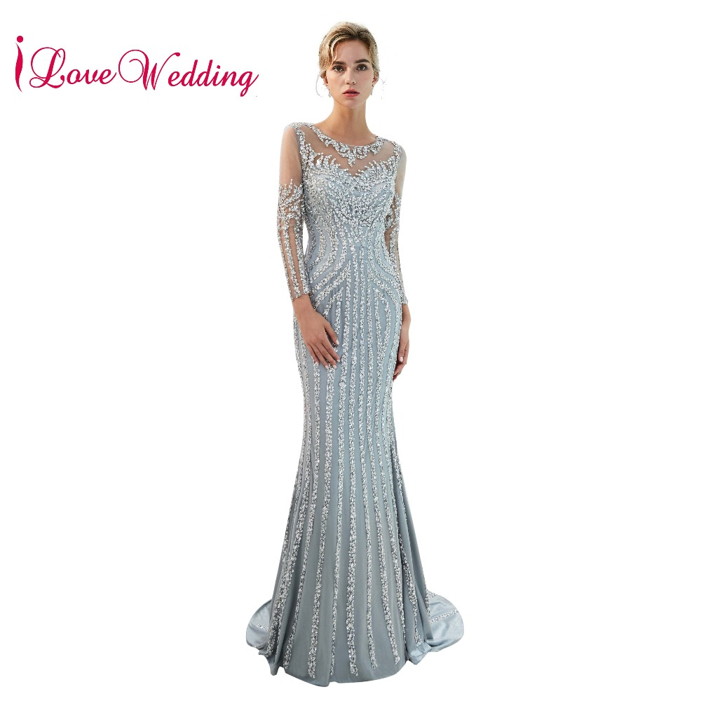 New Arrival 2019 Luxury   Evening   Gowns Sheer Neck Beaded Long Sleeves Custom made Mermaid   Evening     Dresses   Elegant