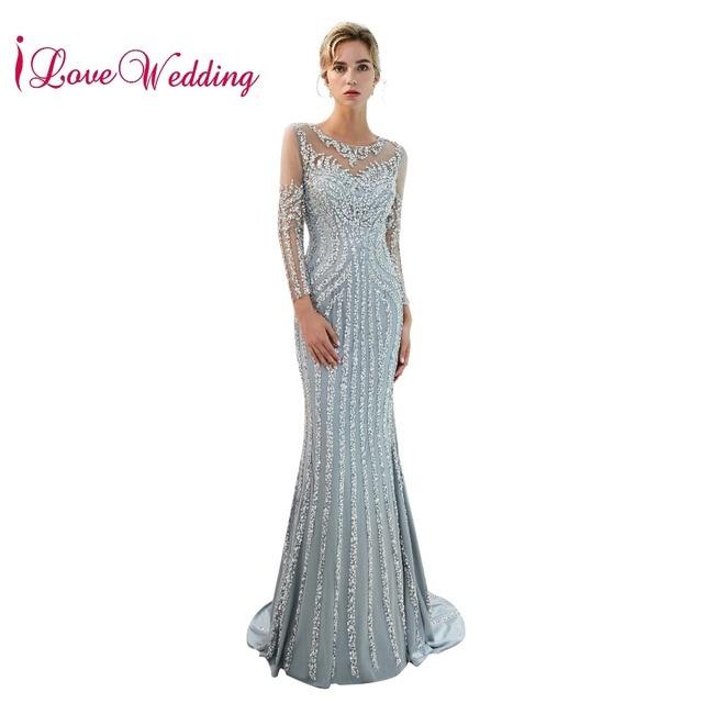 Robe de soiree 2019 יוקרה שמלת ערב Sheer צוואר חרוזים ארוך שרוולי חצוצרת שמלות ערב ארוך מפלגה שמלה
