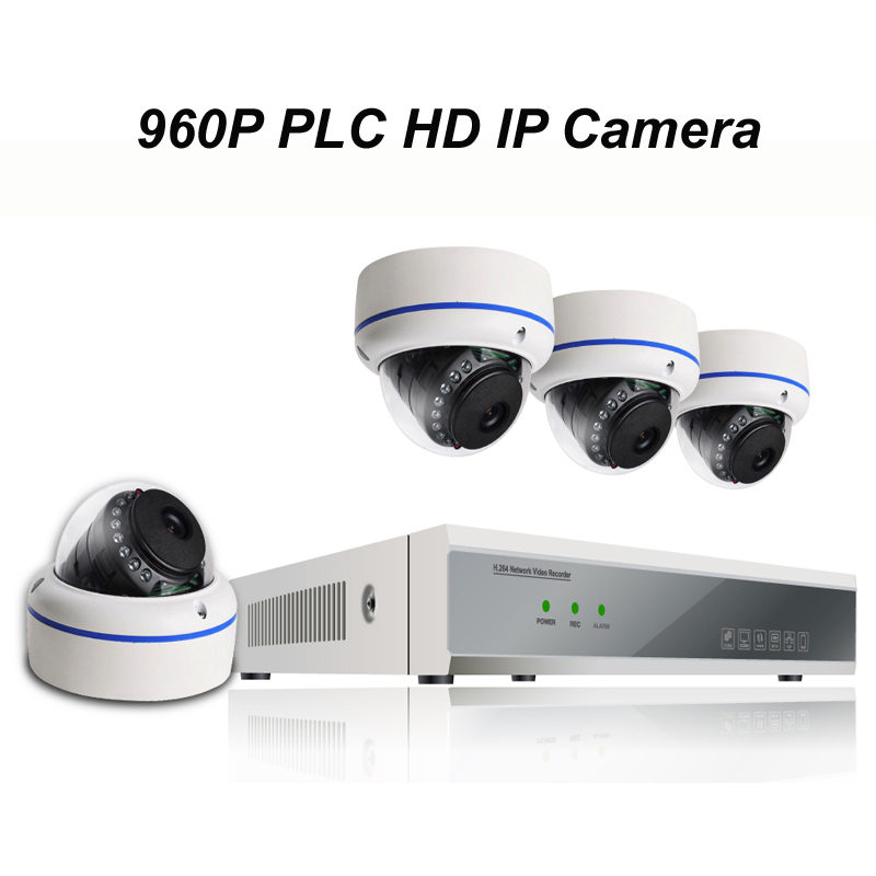 4pcs of 960P PLC HD IP Dome Camera with 1080P NVR Kit with Power Line Communication Module Built-in Reach 300m Power Supply