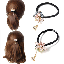 5dd34ec593c Sweet Hair Accessories Girls Pearl Bead Scrunchies Triangle Elastic Hair  Bands Women Crystal Rhinestone Ponytail Holder