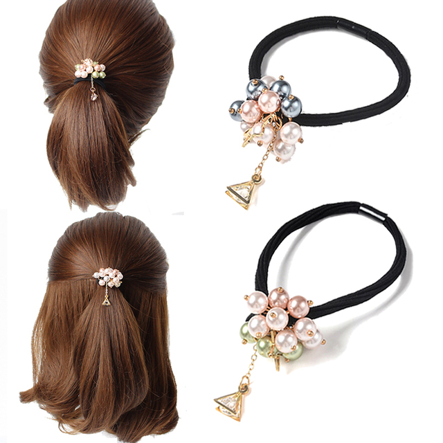 Sweet Hair Accessories Girls Pearl Bead Scrunchies Triangle Elastic Hair  Bands Women Crystal Rhinestone Ponytail Holder 129aff326cd