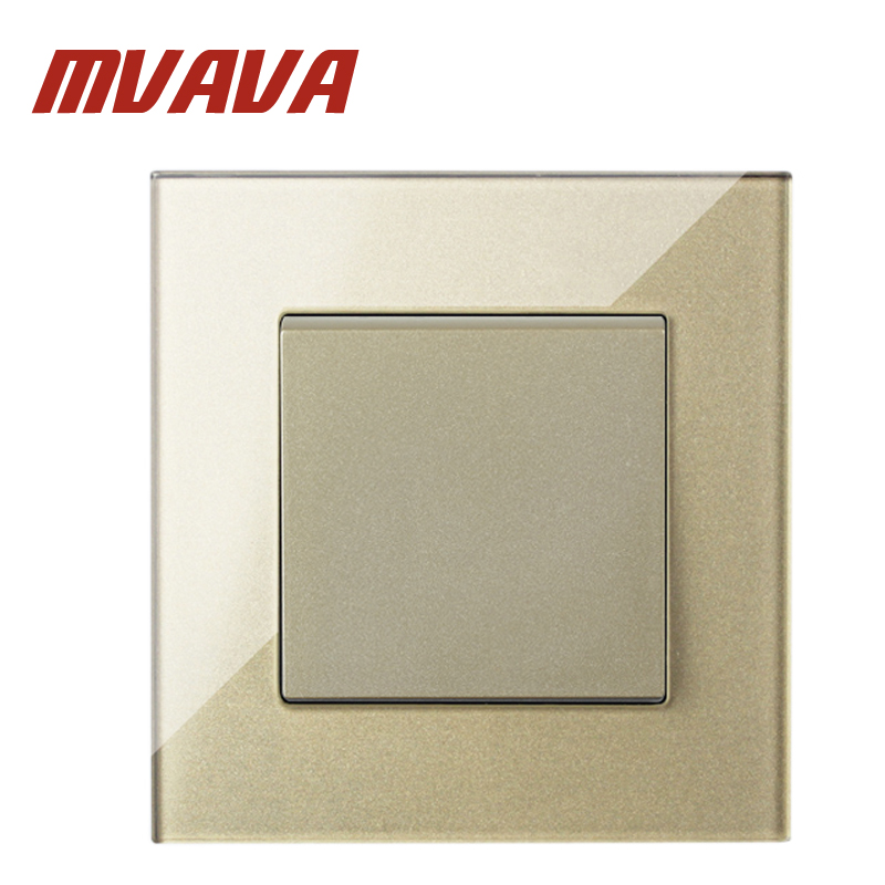 MVAVA 86 90MM Champagne Crystal Glass Panel Push Button 1 Gang Light Wall Switch Luxury 16A 250V Home Electric Light Switch in Switches from Lights Lighting