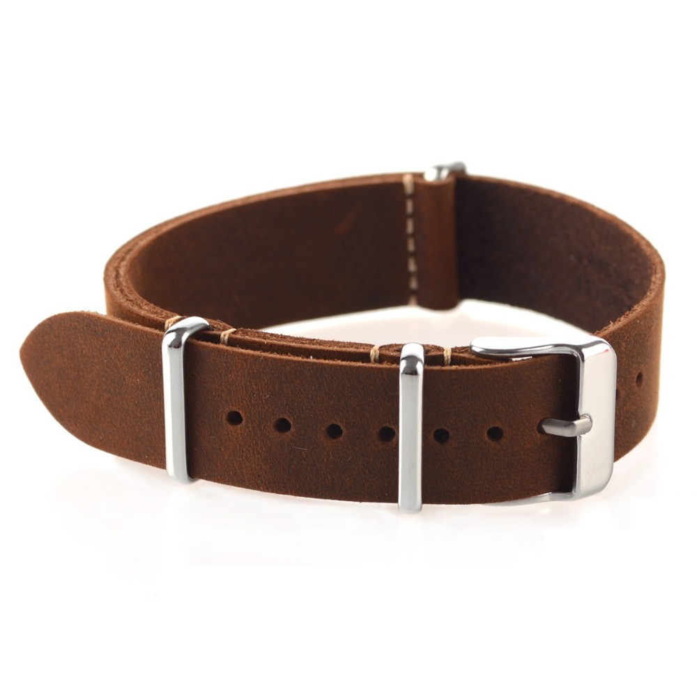 High Quality Vintage Crazy Horse Genuine Leather Nato Watchband Brown Watch Straps 18mm 20mm 22mm small hole wholesale price high quality fashion high quality stainless steel watch band straps bracelet watchband for fitbit charge 2 watch