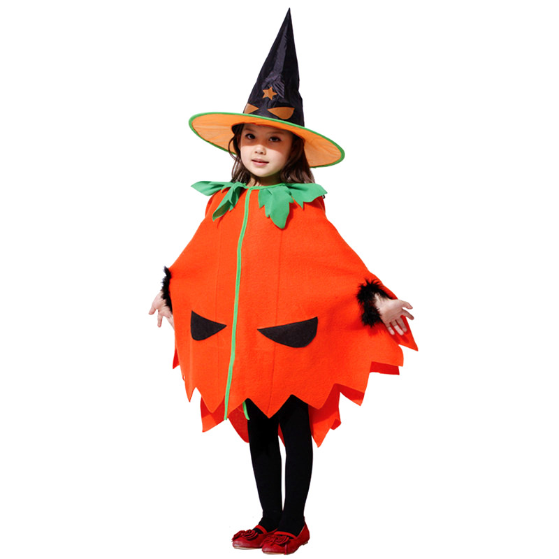 Halloween Children Pumpkin cloak with hat costume girl cute holiday wear ball clothes performance