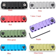 """Hot 7 colors 7 slots / 3"""" inch Length Keymod Picatinny Weaver Rail Sections Black/Red/Blue/Grey/Purple/Glass Green/Olive Green"""